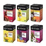 Stash Tea Fruity Herbal Tea 6 Flavor Tea Sampler, 6 boxes With 18-20...