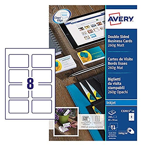 Avery España C32015-10 - Tarjetas de visitas blancas ,85x54 mm, 10 hojas