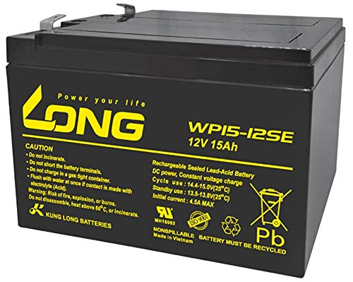 Kung Long Akku 12V 15Ah Batterie Bleigel WP15-12SE zyklenfest kompatibel 12Ah 13Ah 14Ah 16Ah Bleiakku AGM