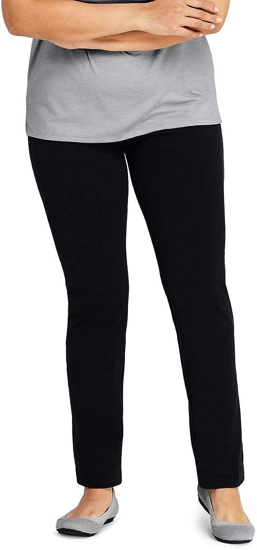 Lands' End Women's Plus Size Starfish Slim Leg Elastic Waist Pants Mid Rise