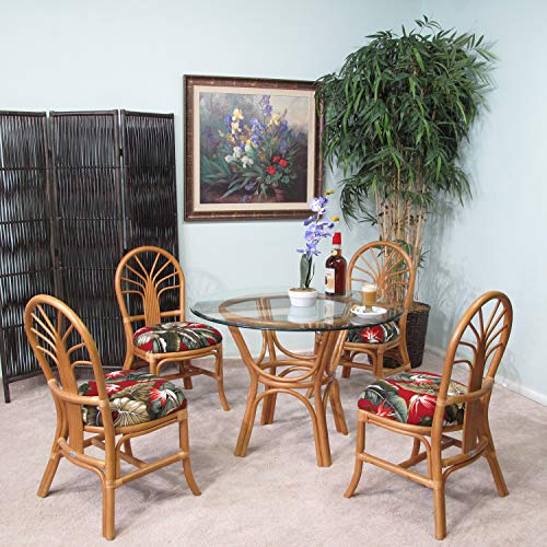 kingrattan.com Rattan Dining Room Furniture 5 Piece Set Chairs and Table (#2401H-BBOPB)