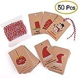 Kuuqa 50 pezzi Kraft Paper Tag regalo di Natale per Natale Confezione regalo con corda appesa, 5 diversi disegni