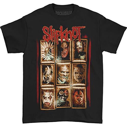 Slipknot New Masks Camiseta Manga Corta, Negro, M para Hombre