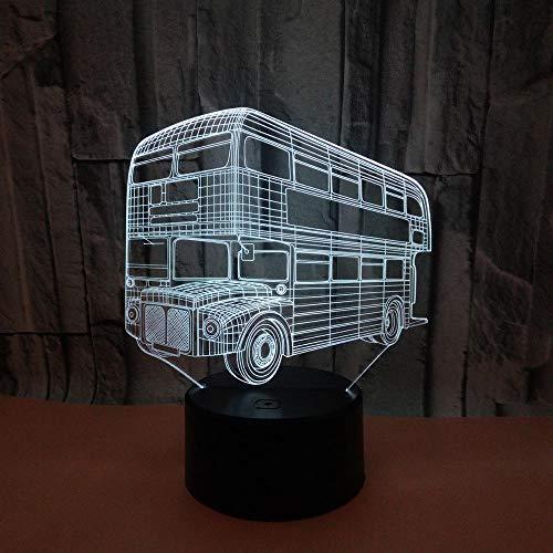 szzyxydd Luz De Noche 3D Lámpara De Ilusión 3D 7 Colores Reemplazo Automático Interruptor Táctil Placa De Acrílico Y Base Abs Niños Navidad Regalo De Cumpleaños Autobús De Dos Pisos