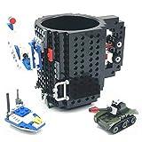 VANUODA Build-on Brick Mug, Tazza di caffè, Regali Originale per Uomo Lui Donna Mamma Bambini Amici Ragazzo, Idea Regalo per Natale Pasqua Festa del papà Compleanno, Compatibile con Lego (Nero)