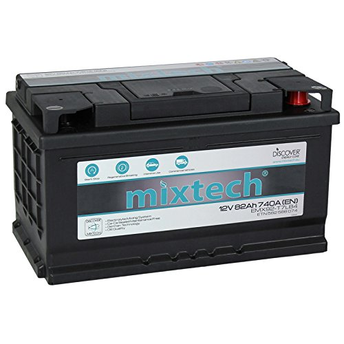 mixtech 12V Autobatterie 82Ah Nass Starterbatterie mit 360 Grad Elektrolyt-Durchmischung KFZ-Batterie in 9 Varianten: 48Ah - 105Ah (wartungsfrei)