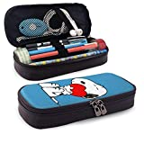 Snoopy Holding Heart Leather Pencil Case, Large Capacity Pencil Case Pencil Case, Suitable for School Student Boys Girls and Office