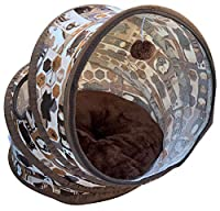 Comfortable Hide-out bed your cat will love, with integrated dangling pom pom toy The cushion is removable for easy cleaning Simply folds flat for storage and transporting Rubber grip beads on base Base diameter: 39cm, Height: 46cm
