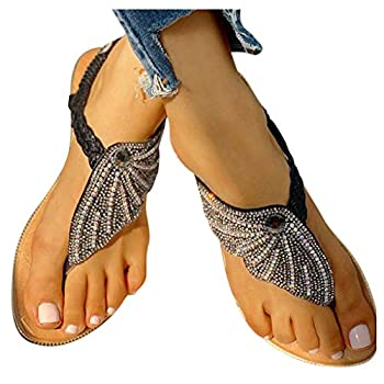 Cookinty Flat Sandals for Women Crystal Butterfly Thong Open Toe Flip Flop Sandals Casual Summer Girls Sandals Slippers Black