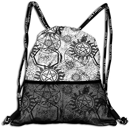 Supernatural Symbols Black Travel Lightweight Waterproof Foldable Storage Carry Luggage Duffle Tote Bag