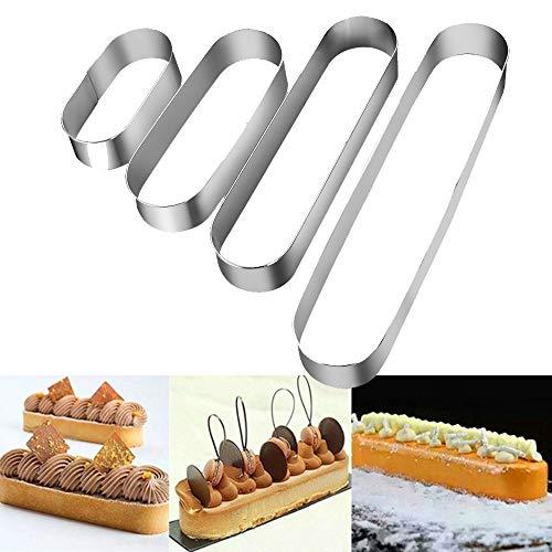 Turbobm Moule à gâteau Ovale, Mini-Moule en Acier Inoxydable à Long Moule de Moule à Tiramisu en Acier Inoxydable