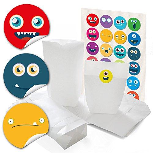 24 kleine weiße Papiertüten mit Boden Papier-Beutel 14 x 22 x 5,6 cm + 24 runde Aufkleber Sticker bunte LUSTIGE GESICHTER, emoji smilies zum liebenvollen Verpacken von Geschenken