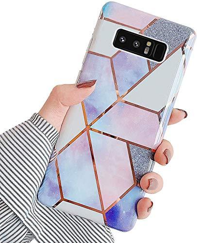 Saceebe Compatible avec Samsung Galaxy Note 8 Coque Etui Silicone 3D Géométrique Marbre Housse Léger Mince Flexible Étui Femme Fille Coloré Peint Housse Protection Slim Gel Cover,Violet Rose