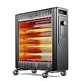 JJLL Portátil Calefactor Radiante, Cubierta Caja de Seguridad Calentador de 1000W / 2100W, Rapid calefacción con termostato Ajustable, for garajes, talleres, almacenes, Dormitorio (Negro)