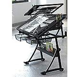 Lgan Dibujo Escritorio Reclinable, Mesa De Dibujo Inclinable Panel De Vidrio,con Almacenamiento, for Arte Mueble Casa Oficina