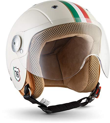 "SOXON® SK-55 ""Imola"" · Kinder Jet-Helm · Motorrad-Helm Kinder-Helm Roller-Helm Kids Scooter-Helm Vespa Bobber Mofa-Helm Chopper Retro · ECE 22.05 Visier Schnellverschluss SlimShell Tasche S (53-54cm)"
