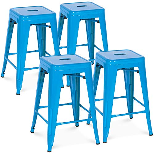 Best Choice Products 24in Indoor Outdoor Stackable Backless Counter Bar Stools, Black