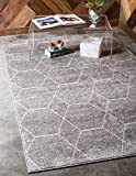 Unique Loom Trellis Frieze Collection Lattice Moroccan Geometric Modern Light Gray Area Rug (4' 0 x 6' 0)