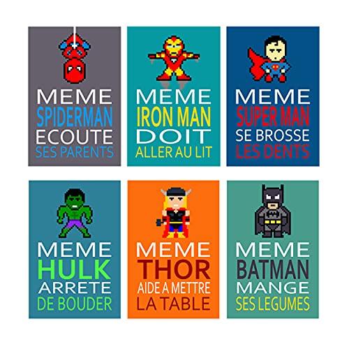 6 affiches super héros avec texte humour, citation amusante, batman, spiderman, chambre enfant