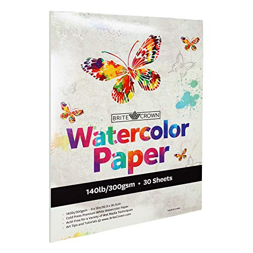 Brite Crown Watercolor Paper Pad - 140lb/300gsm - Bright White 30 Sheets (9x12) Cold Press Texture, Acid Free Watercolor Paper for Kids, Teens and Adult Painters, Wet Media & Mixed Media Artists