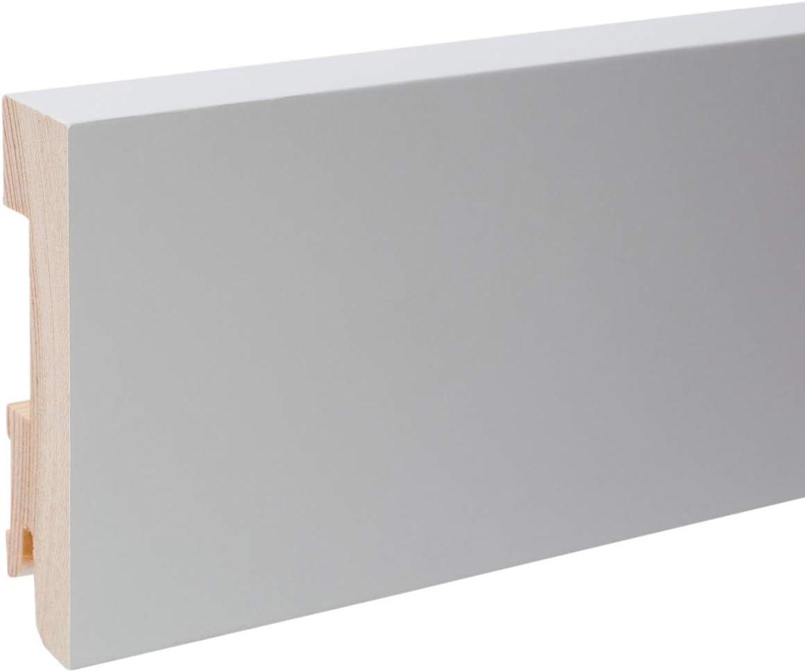 24 m Trevendo/® Sockelleiste Massivholz wei/ß RAL 9010 lackiert gefast cube modern 18 x 58 x 2400 mm