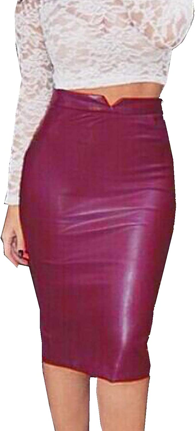WIWIQS Women High Waisted Faux Leather Bodycon Slim Midi Pencil Skirt