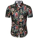 Xmiral Camicia Hawaiana da Uomo e Costume da Bagno,3D Uomini Tronchi Casuale Manica Corta Maglietta per la Spiaggia (3XL,7- Nero)