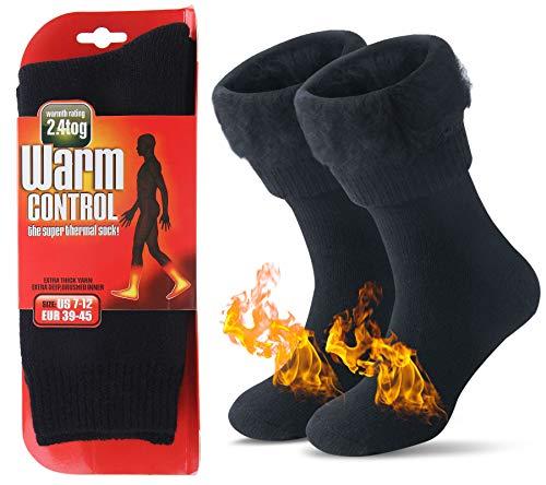 JARSEEN Warme Winter Thermosocken mit Vollplüsch & Wolle Dicke Weiche Stiefel Socken Damen Herren (Neu Schwarz, M/Herren 36-41; Damen 36-42)