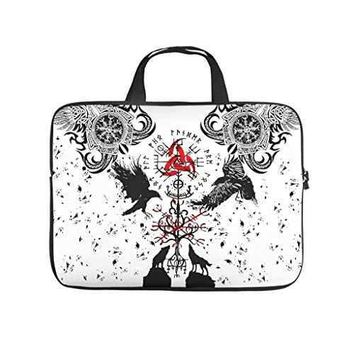 Laptop Computer and Tablet Shoulder Bag VIKINGS TATTOO Muninn crow Water-Repellent Fabric laptop bag for fits up to 16-Inch Laptops white 13 zoll