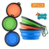 MXZONE 3 Collapsible Silicone Dog Bowl, Foldable Expandable Cup Dish for Small Pet Cat Food Water Feeding Portable Travel Bowl, Free Pet ID-Tag