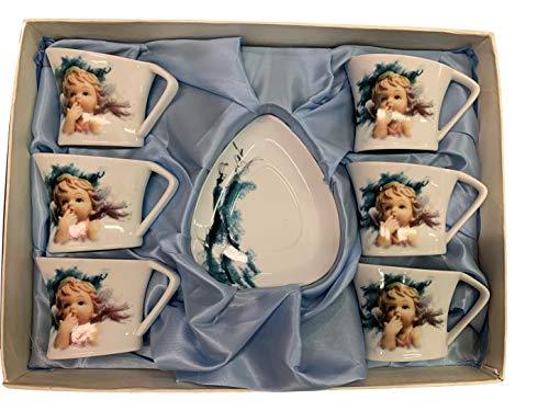 Servizio da tè 6 Tazze e 6 piattini in Porcellana con Stampa Angelo Nàvel, confezionato con Elegante Scatola da Regalo