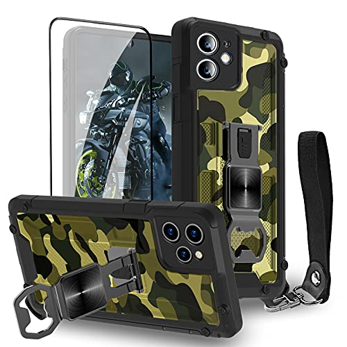 Funda para iPhone 12 – Funda para teléfono móvil al aire libre estándar militar resistente a arañazos y huellas dactilares 3D patrón militar con protector de pantalla – Camo