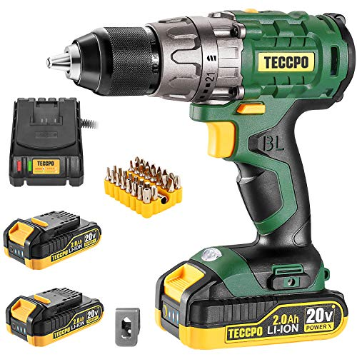 """Cordless drill set, 20V Brushless Drill Driver Kit, 2x 2.0Ah Li-ion Batteries, 530 In-lbs Torque, 1/2"""" Keyless Chuck, 2-Variable Speed, Fast Charger, 33pcs Bits Accessories with case"""