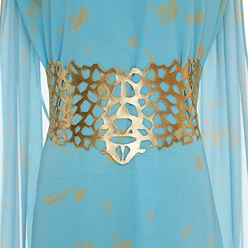 Natinr Mujer Vestido de Gasa Disfraz de Cosplay de Madre del Dragón Disfraz de Halloween Vestido Azul de Cola Larga Trajes de Fiesta
