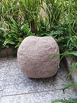 RISEON Boho Hand WovenContemporary Cotton LinenFabric Pouf Cover Footstool Ottoman Poufs Unstuffed-Square Floor Cushion Footrest Cover for Living Room, Bedroom and Under Desk (Dark Brown)