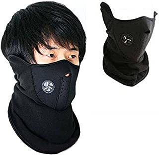 Autoridez Men's Fabric Face Mask for Bikers Dust Protection (Black)