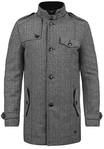 Indicode Brandan Herren Winter Mantel Wollmantel Lange Winterjacke mit Stehkragen, Größe:XL, Farbe:Light Grey Mix (913)