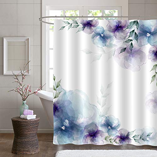 MitoVilla Blue Purple Floral Extra Long Shower Curtain 72x78, Vintage Flower Shower Curtain, Abstract Floral Fabric for Bathroom Shower Curtain Liner, Waterproof Washable Fabric Shower Curtain