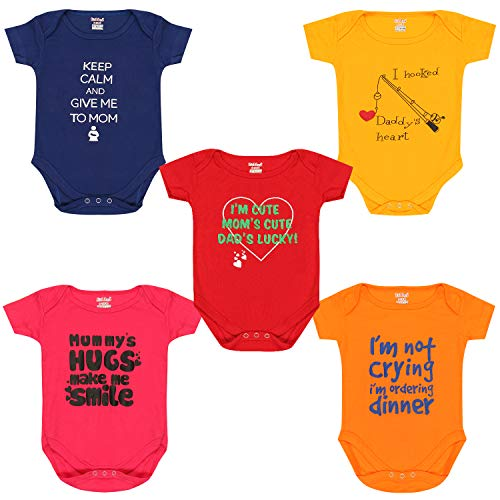 Kiddeo Infants Bodysuits (Pack of 5) (0-3 Months)