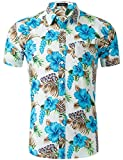 Loveternal Camisa Flor Hombre Camiseta Estampada Hawaiana Vacaciones Impresa 3D Funky Summer Cotton Floral Shirt L