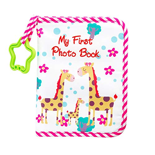 Baby Photo Album Soft Cloth Baby Photo Book Child with Safe Mirror Holds 17 Photos 4''x6'' Cute Giraffe Family Theme Pink