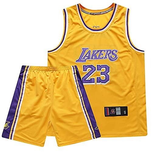 Lakers Jersey Traje de Hombre, James 23# Bordado Camiseta de Baloncesto versión Fan Camiseta Chaleco Juvenil Traje Corto(Traje Bordado Amarillo,XXL)