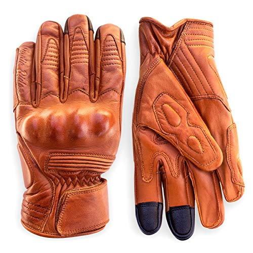 Premium Leather Motorcycle Gloves (Camel) Knuckle Protection with Mobile Phone Touchscreen by Indie Ridge (Large)
