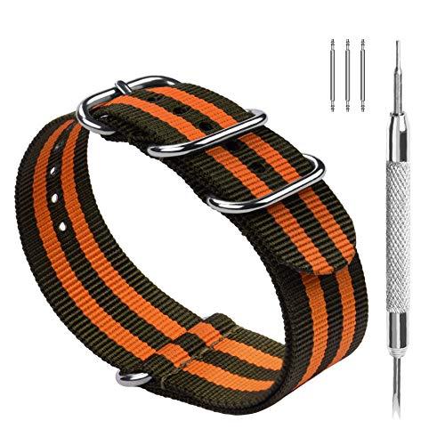 Fullmosa Bracelets de Remplacement en Nylon Facilement Interchangeables pour Homme Femme, pour Montres Connectées,Plusieurs Couleurs, 18mm, 20mm, 22mm,24mm, Marine Vert + Orange 20mm