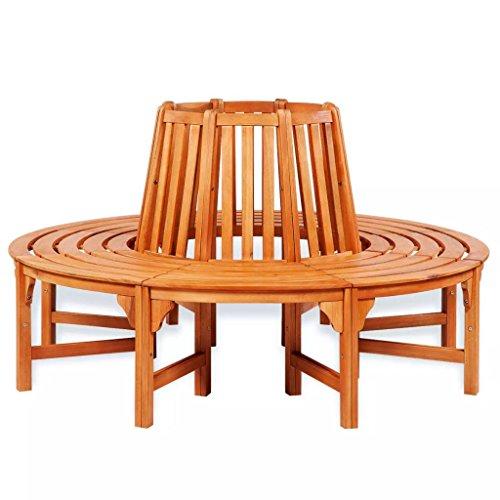vidaXL Rundbank Baumbank Holz Gartenmöbel Garten Sitzgruppe Eukalyptus Hartholz
