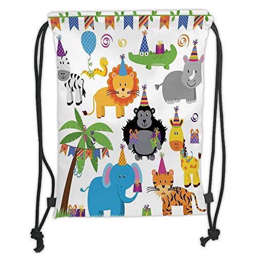 Fevthmii Drawstring Backpacks Bags,Birthday Decorations for Kids,Jungle Wild Animals in Cartoon Pattern Party Hats Flags Image,Multicolor Soft Satin,5 Liter Capacity,Adjustable String Closu
