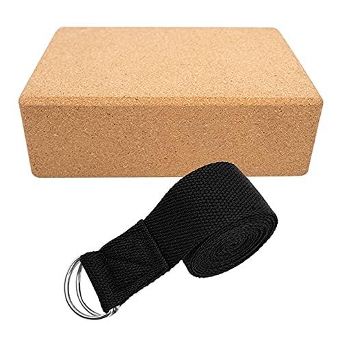 1 pieza Conjunto de algodón Bloque de yoga + Cinturón de yoga Bloque Estable Cinturón de yoga Conjunto de cinturón de yoga de alta densidad Sin deslizamiento Estera resistente Durable EVA Bloque de es