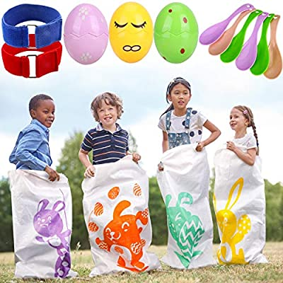 Konsait Lawn Games Games, 6 Potato Sack Race Bags 40x 24 inches, Jumping Bags with Egg and Spoon Race Games, 3-Legged Race Bands for All Ages Kids Party Favor, Family Games