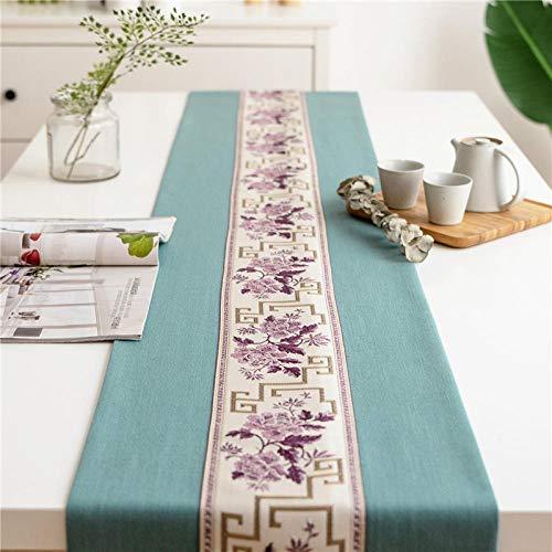 Branfan Nieuwe Chinese tafelloper moderne eenvoudige katoenen linnen art Zen theetafel TV kast salontafel tafel tafelkleed 30 * 350cm (ongeveer 3 meter eettafel)