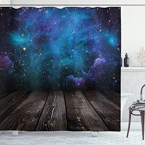ABAKUHAUS Galaxis Duschvorhang, Space von Home Ansicht, Digital auf Stoff Bedruckt inkl.12 Haken Farbfest Wasser Bakterie Resistent, 175 x 200 cm, Schwarz Blau Braun Lila